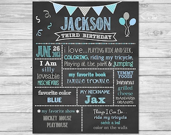 Birthday Chalkboard Poster Printable - First Birthday Favorite things Chalkboard Sign - Banner B