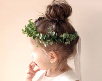 Flower girl crown, Eucalyptus wreath, Greenery hair wreath, Toddler Photo Prop, Faux eucalyptus girl crown, Photography prop (12+ months)