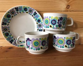 1970s Elayne Fallon Westen Design for Staffordshire Pottery Cups and plate - Three cups available and one tea plate