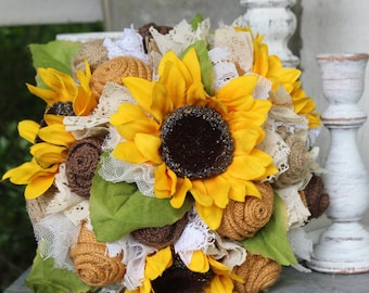 Sunflower and burlap bridal bouquet, rustic wedding flowers, burlap and lace bouquet, fall wedding flowers, country wedding, burlap bouquet