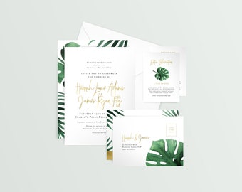 Wedding Suite 'Monstera' - Tropical, Palm, Leaves, Invitation, RSVP, Wishing Well/Registry, Envelopes, Customisable, Simple, Gold, Textured