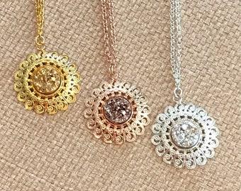 Custom Druzy Necklace - Druzy - Rose Gold - Druzy Necklace - Rose Gold Necklace - Druzy Jewelry - Drusy - Custom - Jewelry - Gift - Silver -