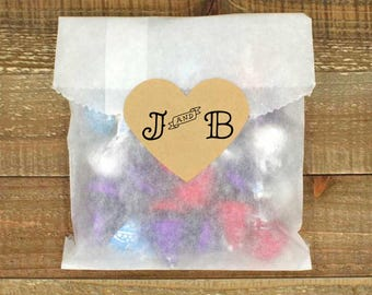 Wedding favor labels, set of 15 heart shaped, personalized stickers, envelope seals, tattoo style initials, banner design, custom stickers