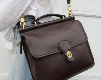 Vintage Coach Willis Bag // Coach Leather Messenger Bag in Mahogany // Coach Satchel //