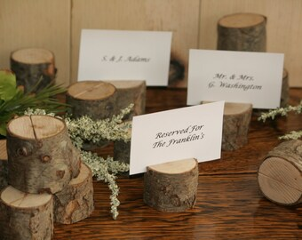 85 Rustic Place Card Holder,Card Holder, Rustic Wedding Decor, Wood Place Card Holder, Rustic Wedding Supplies