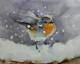 European Robin. Watercolour Painting, Bird painting, Nature, Wildlife.
