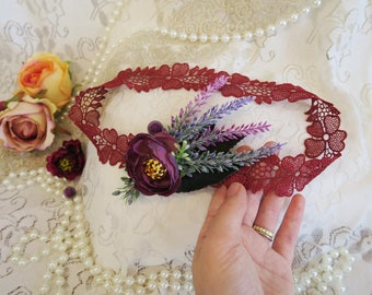 Great gatsby wedding, Forehead band, flapper headband, 1920's wedding accessory, floral boho headband, maroon headpiece