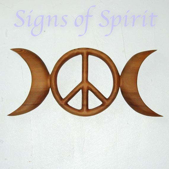 Triple Moon Peace Symbol Celtic Goddess Wiccan Pagan Peace