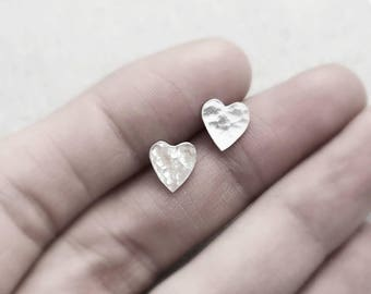 Silver Heart Studs | Sterling Silver Hammered Heart Stud Earrings | Valentines Gift | Contemporary Studs | Silver Studs | Silver Jeweller