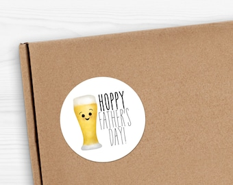 "Funny Father's Day Beer Stickers - 1.625 x 1.625"" Circles 24 Per Sheet - Gift Hoppy Fathers Day Cards For Dad Sticker Set Father Papa Daddy"