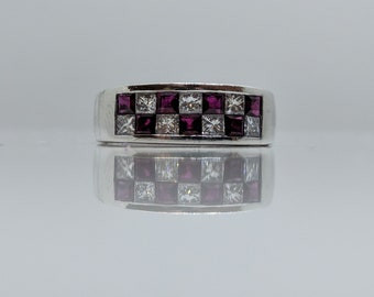"Checkerboard style Ruby  & Diamond 18k White gold Statement Ring ""Final Sale"""