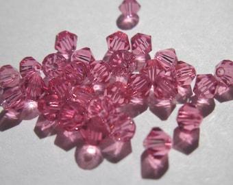 30 genuine swarovski 4mm - pink (36) Crystal bicones