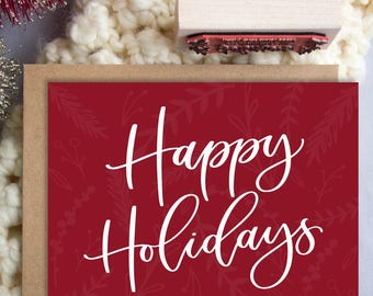 Happy Holidays A2 Greeting Card, Christmas Note Card, Hand Lettered Holiday Note Card