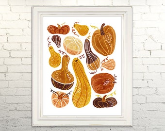 GOURDS Printable Art print poster Instant Download Digital JPG Autumn Fall Pumpkin Squash Halloween Holiday Seasonal Kitchen Art Dining Art