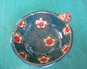 Red Blue and Yellow - Hedgehog and Daisy Bowl - Jewelry Dish- Trinkets - Ring Holder