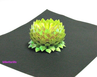 A piece of Small Size Yellow Color Hand-folded Origami Lotus. (AV paper series). #FLT-162.