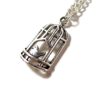 Birdcage Charm Necklace, Metal Bird Necklace, Silver Cage Pendant Necklace, Gift for Her, Teen Jewelry, Women's Jewelry, Last Minute Gifts