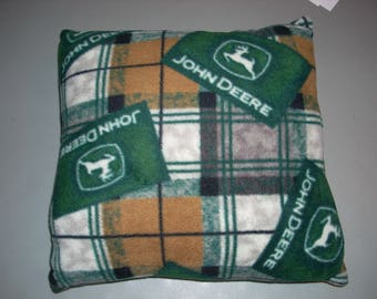 """John Deere Fleece Pillow (hand crafted) approx. size 14"""" by 14"""" and  5 1/2 Inches thick"""