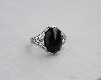 silver sterling rings stone s men ottasilver ring onix black onyx