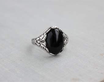 Black Onyx Ring. Antique Silver or Antique Brass