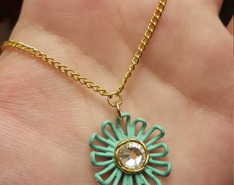 Geometric flower necklace / Green flower pendant / Rinestone necklace