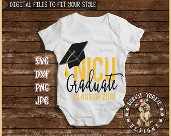 NICU Graduate Class of 2018 - svg, dxf, png, jpg -  cap, peace sign, preemie, premature, baby, neo-natal, Cricut, Studio Cutable file