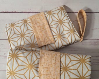 Cotton padded Nappy wallet and large waterproof changing mat set in gold and white