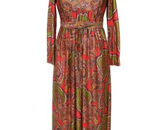 vintage 1970's paisley maxi dress / boho bohemian / bold pattern print / women's vintage dress / tag size 7