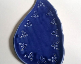 Small Plate in Royal Blue - Handmade Pottery - Organic Shapes - Appetizer Platter - Sushi Plate