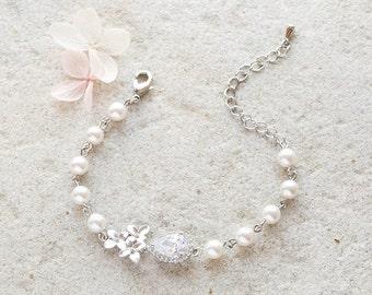 Bridal Bracelet Silver Clear Crystal Cubic Zirconia Cream White Pearl Bracelet Silver Wedding Jewelry Cherry Blossoms Lilac Flower Bracelet
