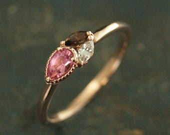 Budding Posh Pink Ring Cluster Ring 14K Rose Gold Ring Pink Tourmaline Ring Pear Shaped Stone Marquee Stone Smoky Quartz Ring Rose Gold Pink
