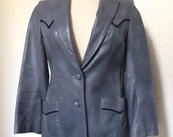 Vintage 60's / 70's Blue Leather Western Style Blazer Medium