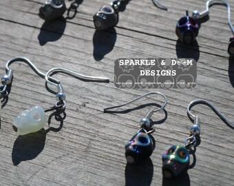 Skull Earrings, pair glass handmade