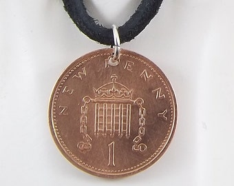 English Coin Necklace, 1 Penny, Coin Pendant, Leather Cord, Mens Necklace, Womens Necklace, Birth Year, 1976