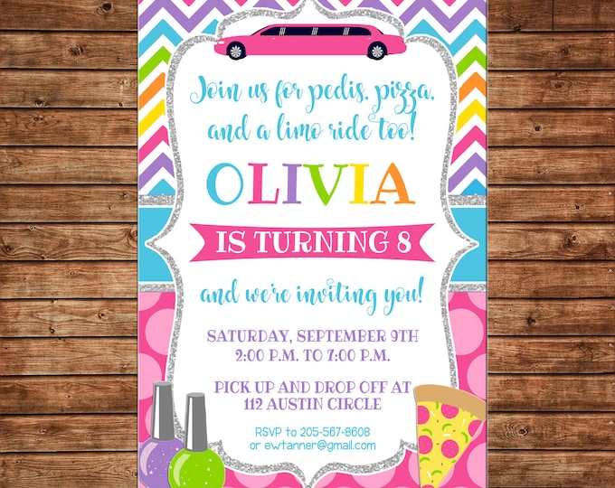 Girl Invitation Limo Mani Pedi Manicures Pedicures Pizza Birthday Party - Can personalize colors /wording - Printable File or Printed Cards