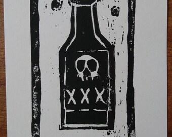 The Devil Drink Woodcut Print