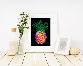 """A Funky Pineapple Paintings II. - 5"""" x 7"""" matted to 8"""" x 10"""" 