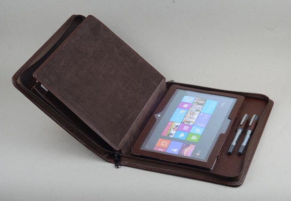 Coffee Leather Business Zipper Portfolio Carrying Case For