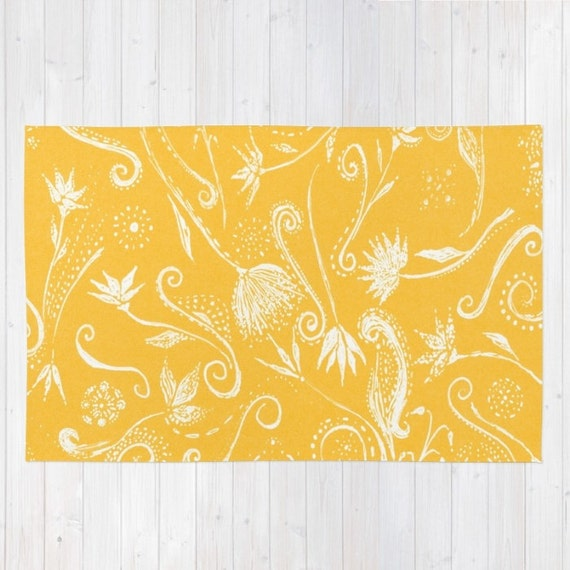 Mustard yellow floral area rug yellow area rug yellow flower like this item mightylinksfo