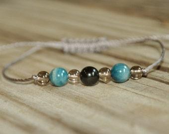 Obsidian, Apatite, Smoky Quartz, Grounding, Yoga Bracelet, Healing Bracelet, Meditation Bracelet, Stack, Prayer Bracelet