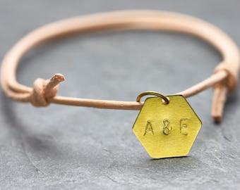 Bracelet engraved geometry Friendship Bracelet letter nude