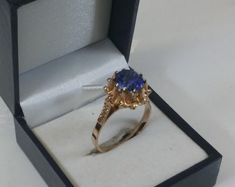 Ring 583 red gold spinel USSR vintage GR207 blue
