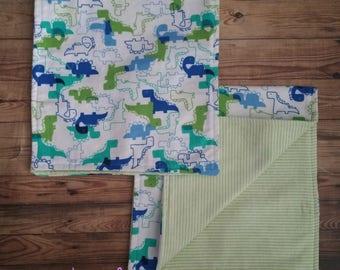 Blue and Green Dinosaur Boy Burp Cloths