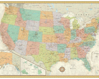 United States, USA, US Contemporary Premier Edition Large Wall Map Mural Poster Decor for home or office