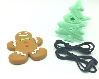 Silicone Gingerbread Man Christmas tree combination DIY Crafts Teething Necklace Pendant baby teething toy