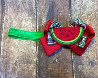 Watermelon headband, watermelon clip, custom headband, watermelon theme, watermelon cutie, girls headband, toddler headband, baby headband