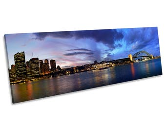 Sydney Harbour Australia Night CANVAS WALL ART Panoramic Framed Print