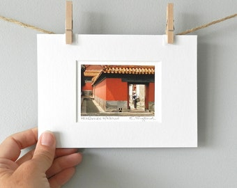 Asian Art, Architectural Photography, Photograph of China, Travel Photo, Asian Decor, Red Gold Black Art, Forbidden City China, 5x7 Matted