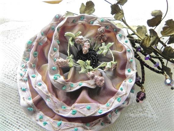 Hand Embroidered French Ribbon Flower, Appliqué Broach, Corsage, Hat Embellishment,  Pink, Mauve, Turquoise Blue.