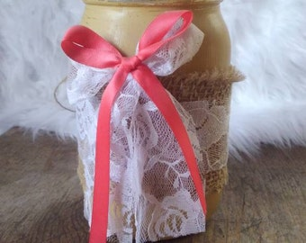 Mason Jar Vase, distressed, rustic, home decor, center piece, decor, gift